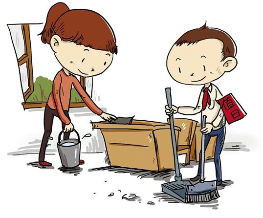 校园里公共区域自主保洁 搞卫生小学生最积极